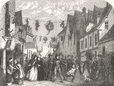 WORCESTERSHIRE. Restoration-Day (29th of May) at Upton-on-Severn, print, 1857